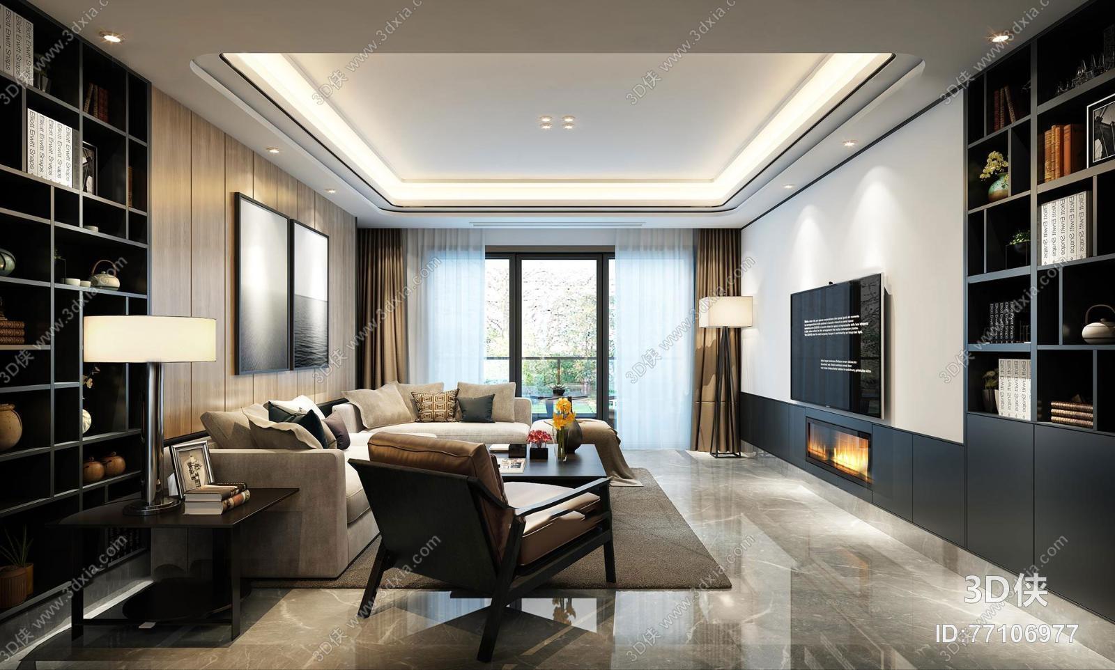 现代客厅空间书架组合3D模型