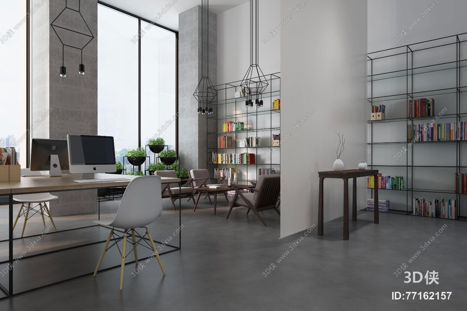 工业风办公室3d模型【id:77162157】