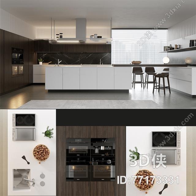 现代厨房橱柜厨具组合3d模型