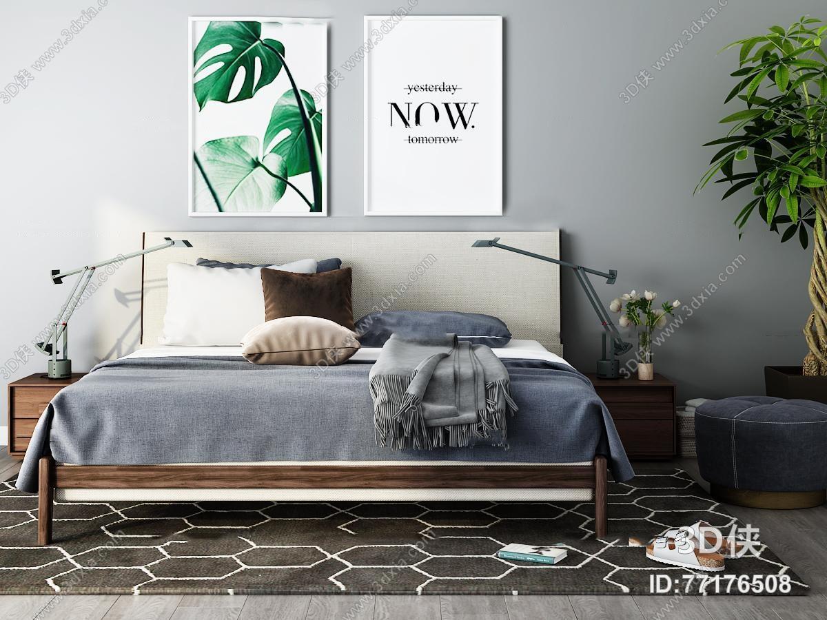 现代双人床床头柜摆件组合3d模型