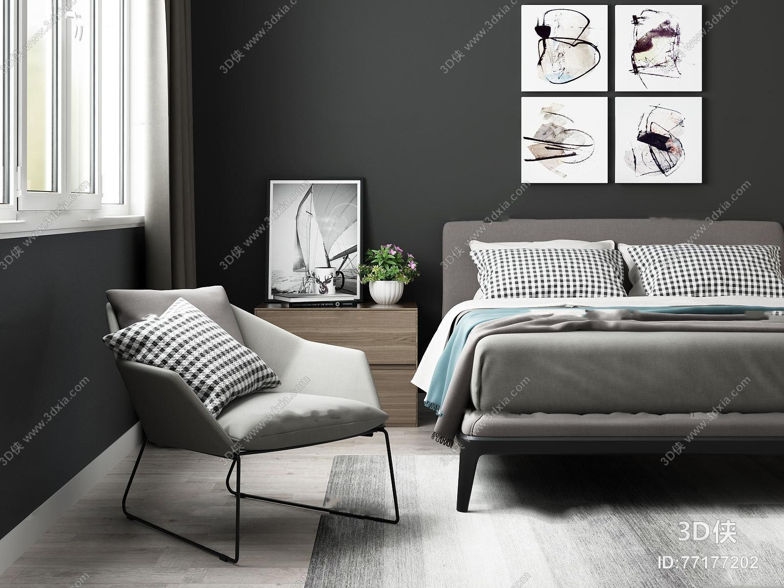 北欧双人床边柜单椅组合3d模型