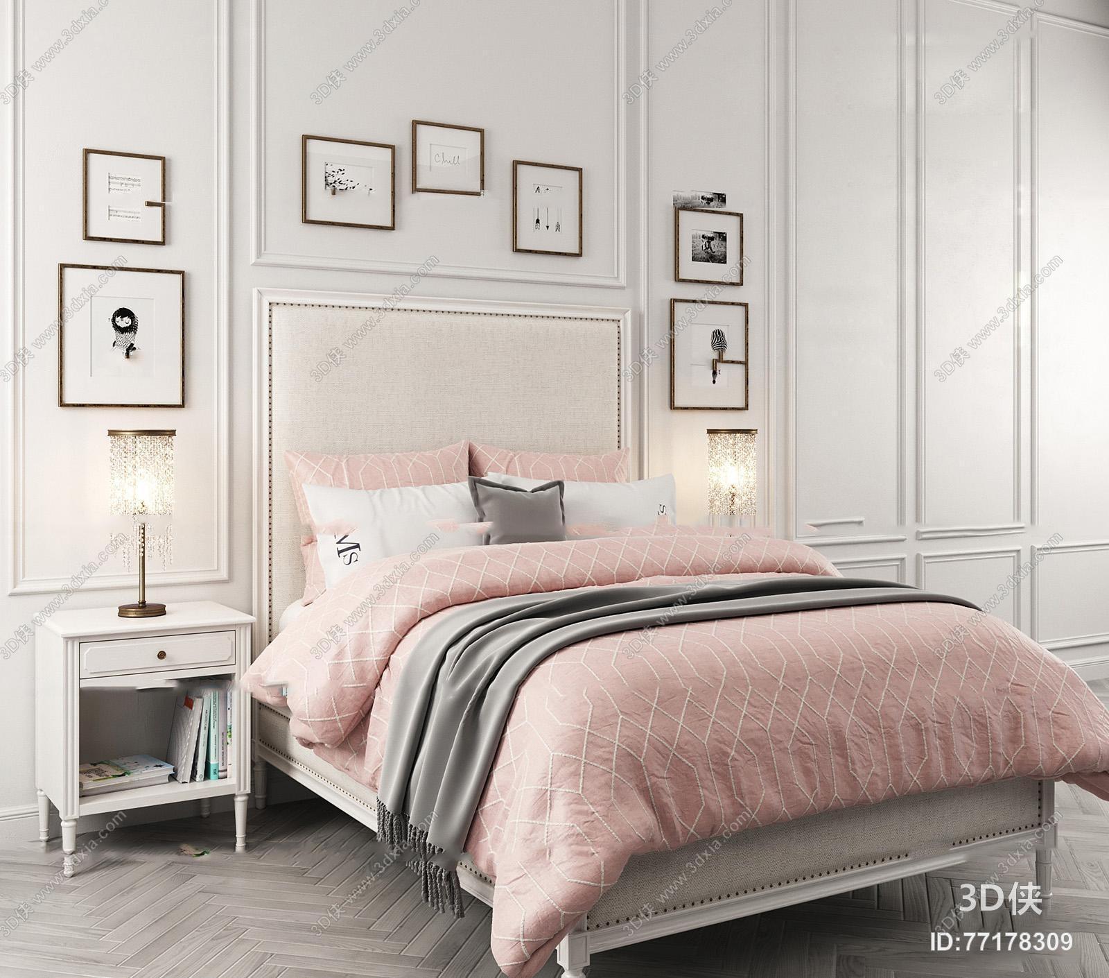 简欧布艺双人床床头柜台灯装饰画组合3D模型