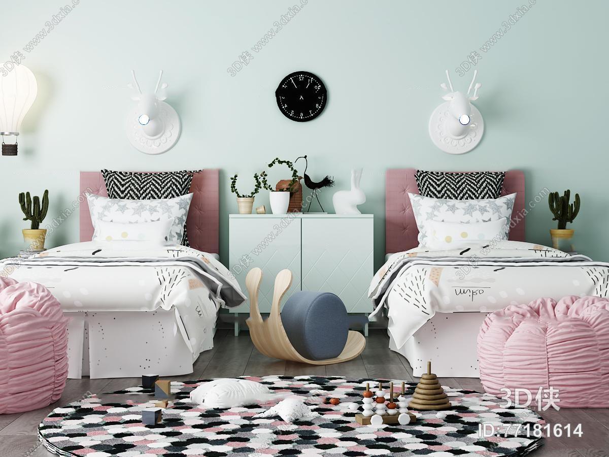 现代儿童床壁灯懒人沙发组合3D模型