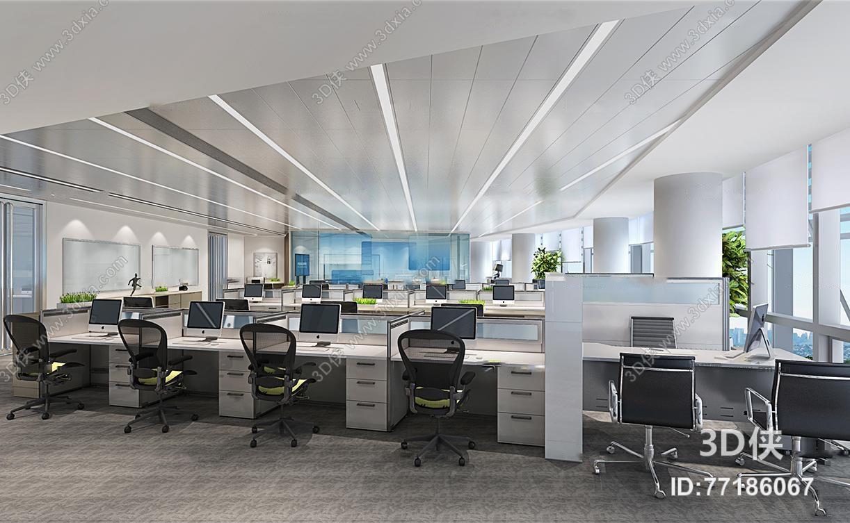 现代敞开办公区3d模型