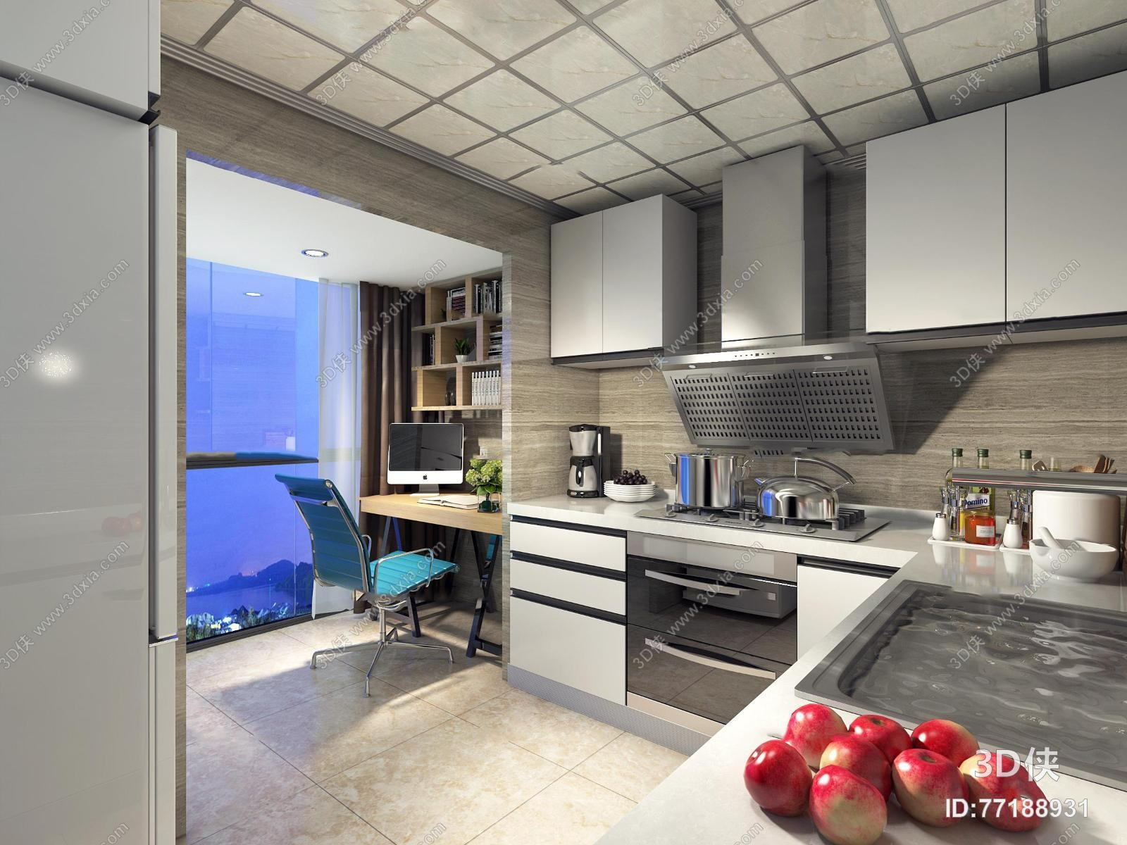 现代厨房3D模型