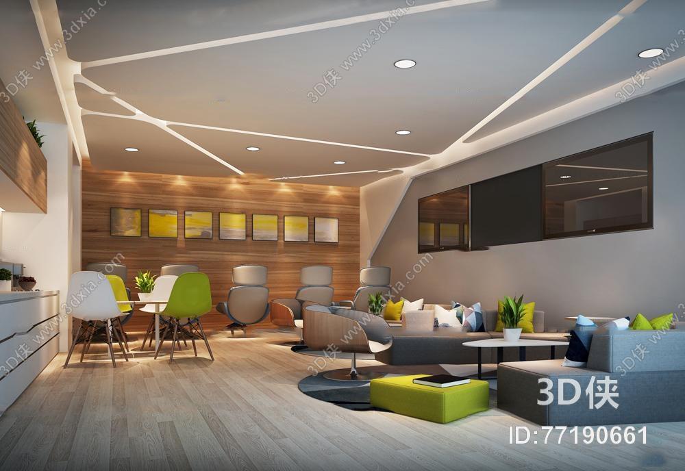 效果图素材免费下载,本作品主题是现代办公休息区茶水间3d模型,编号是