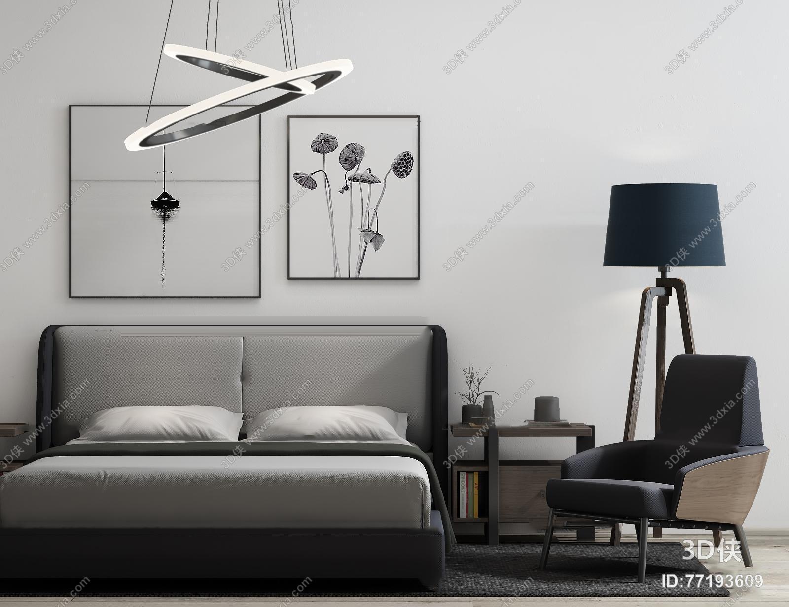 现代双人床沙发吊灯组合3d模型