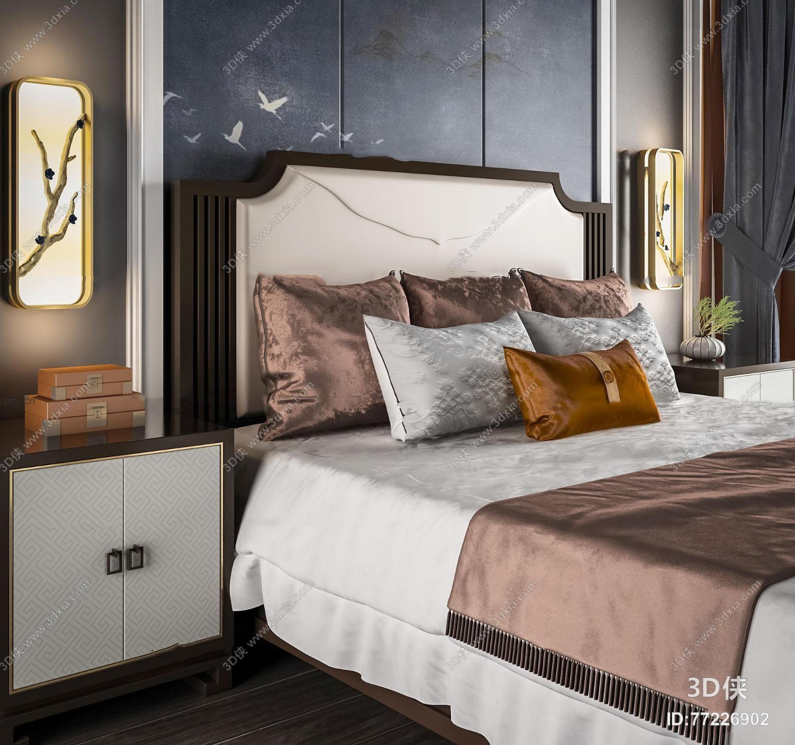 新中式布艺双人床床头柜壁灯组合3D模型