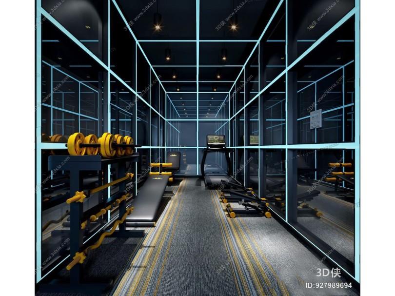 工业风健身房 工业风娱乐会所 科技 健身房 锻炼 器材