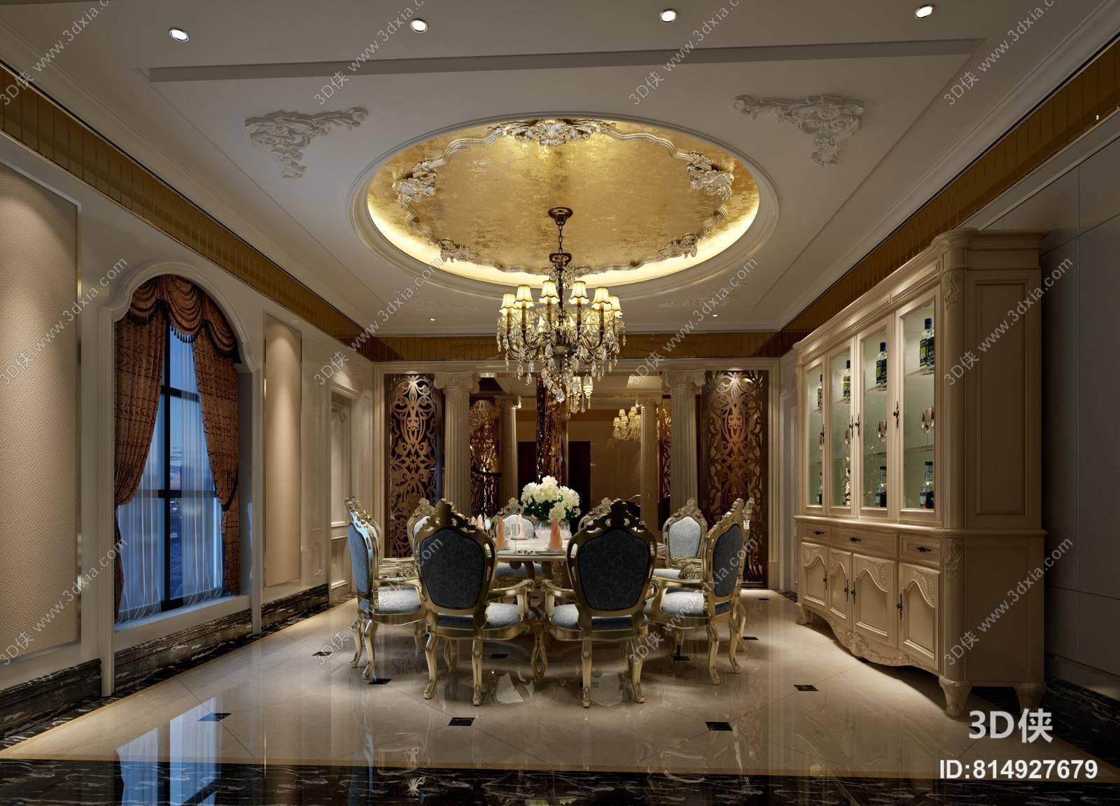 欧式古典别墅餐厅 经典欧式金色水晶吊灯 欧式古典蓝色木艺餐桌椅组合