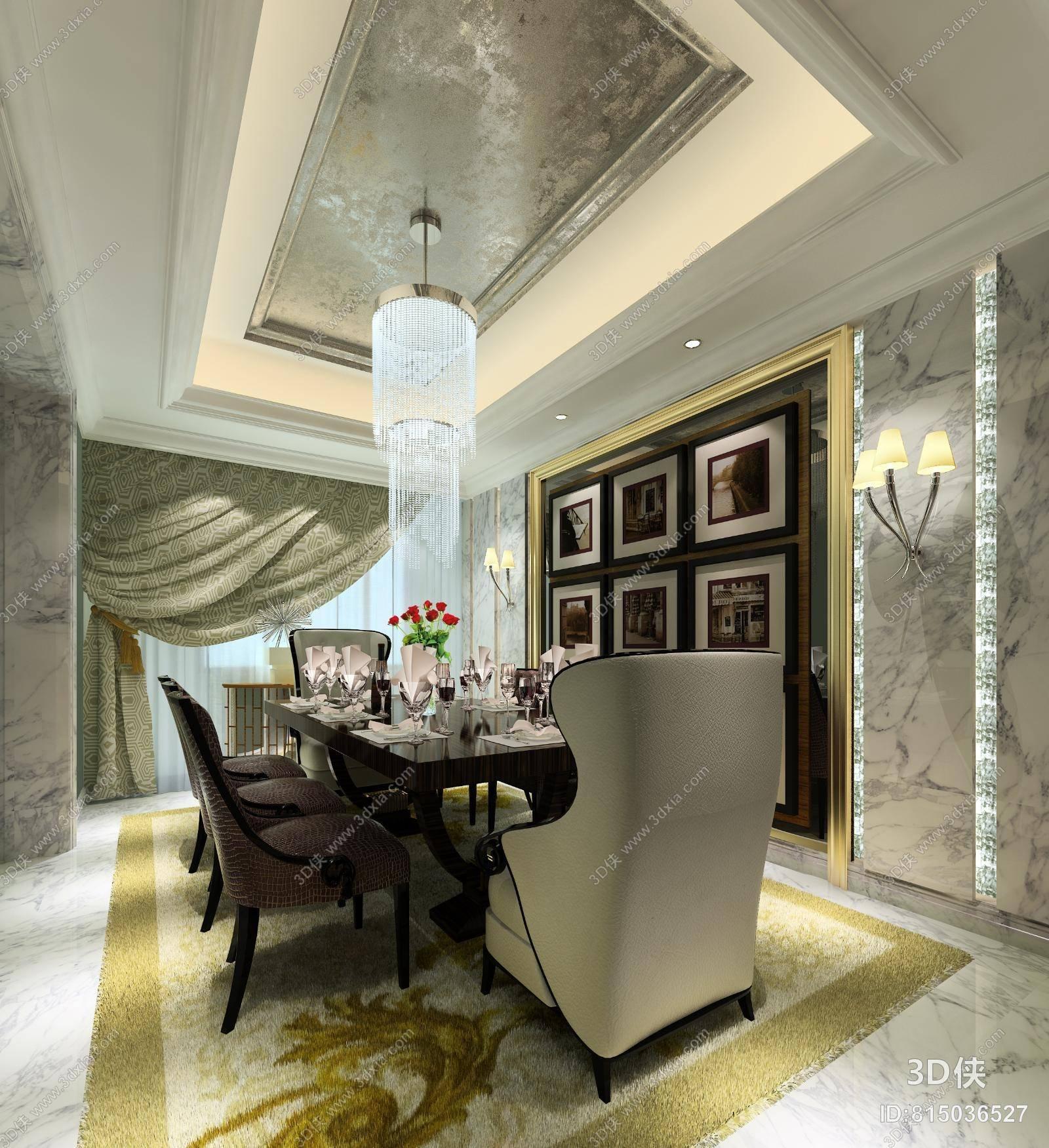 欧式简约家居餐厅 欧式简约白色水晶吊灯 欧式简约餐桌椅组合