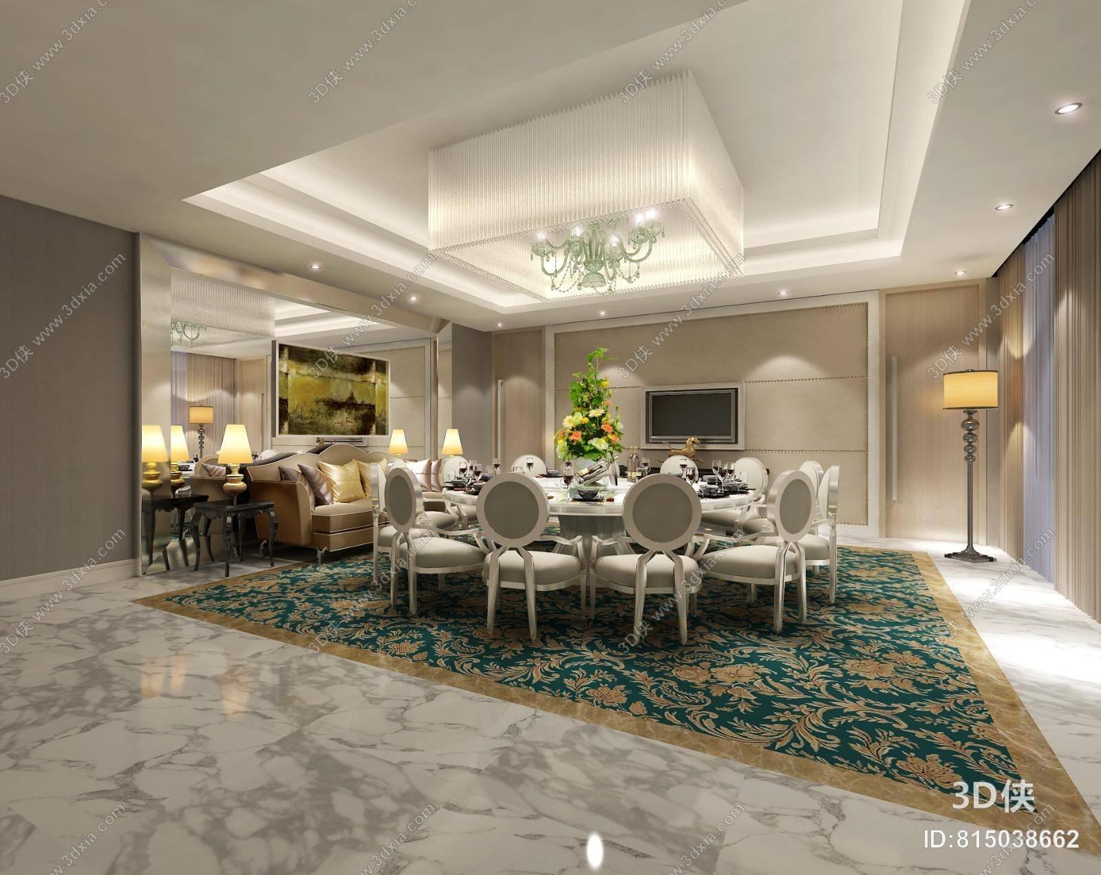欧式简约别墅餐厅 欧式简约白色水晶吊灯 绿色吊灯组合 欧式简约餐桌