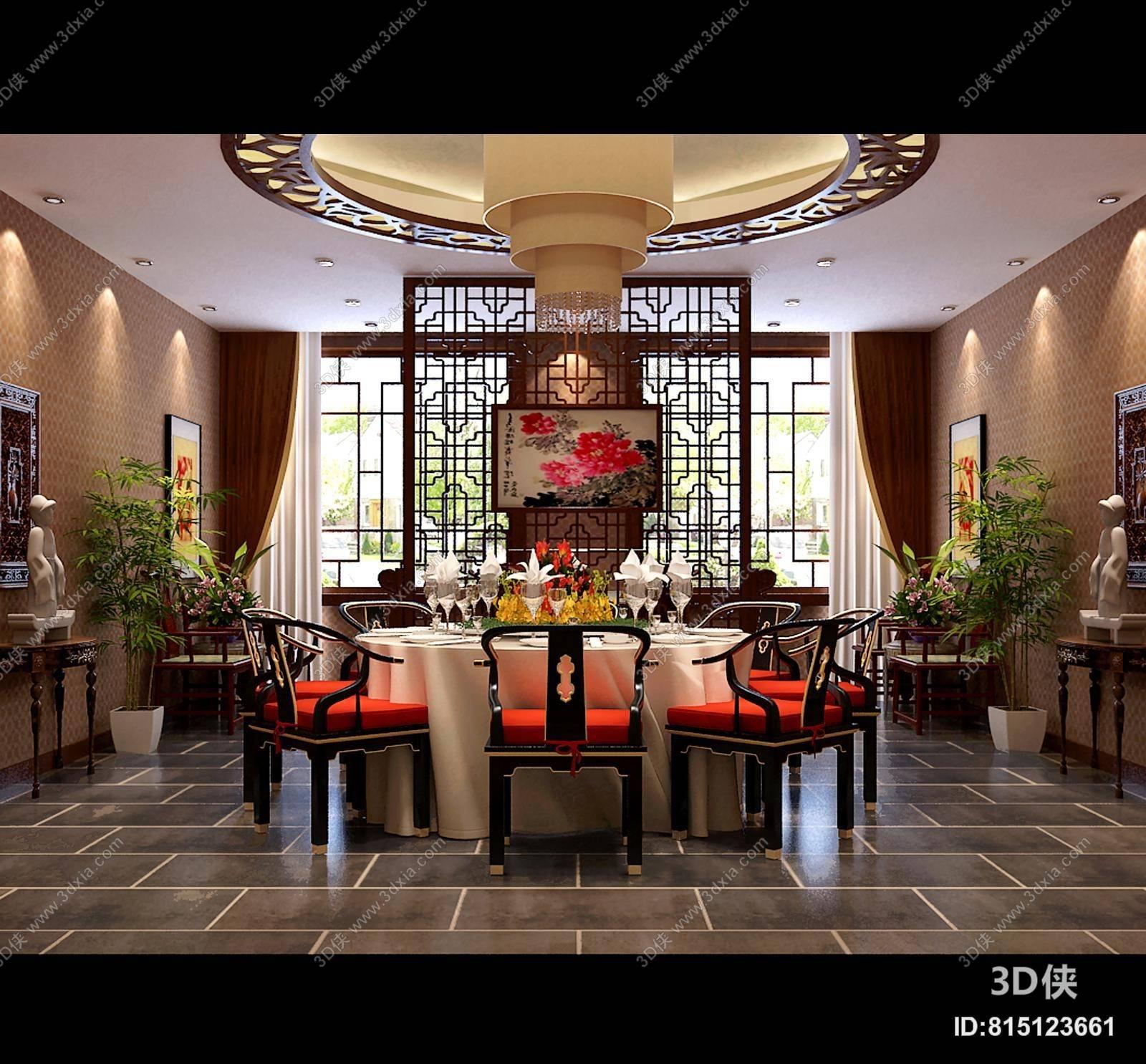 2009,建议使用3dmax 2012 软件打开,该传统中式别墅餐厅图片素材大小