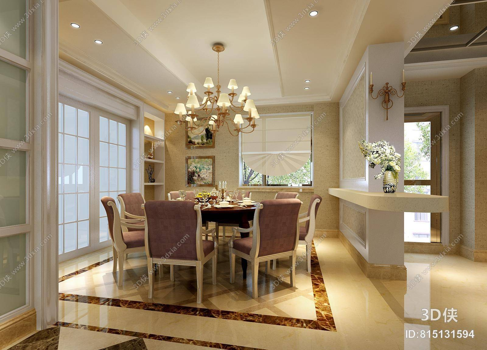 欧式简约紫色布艺餐桌椅组合 欧式简约白色长方形大理石家居茶几