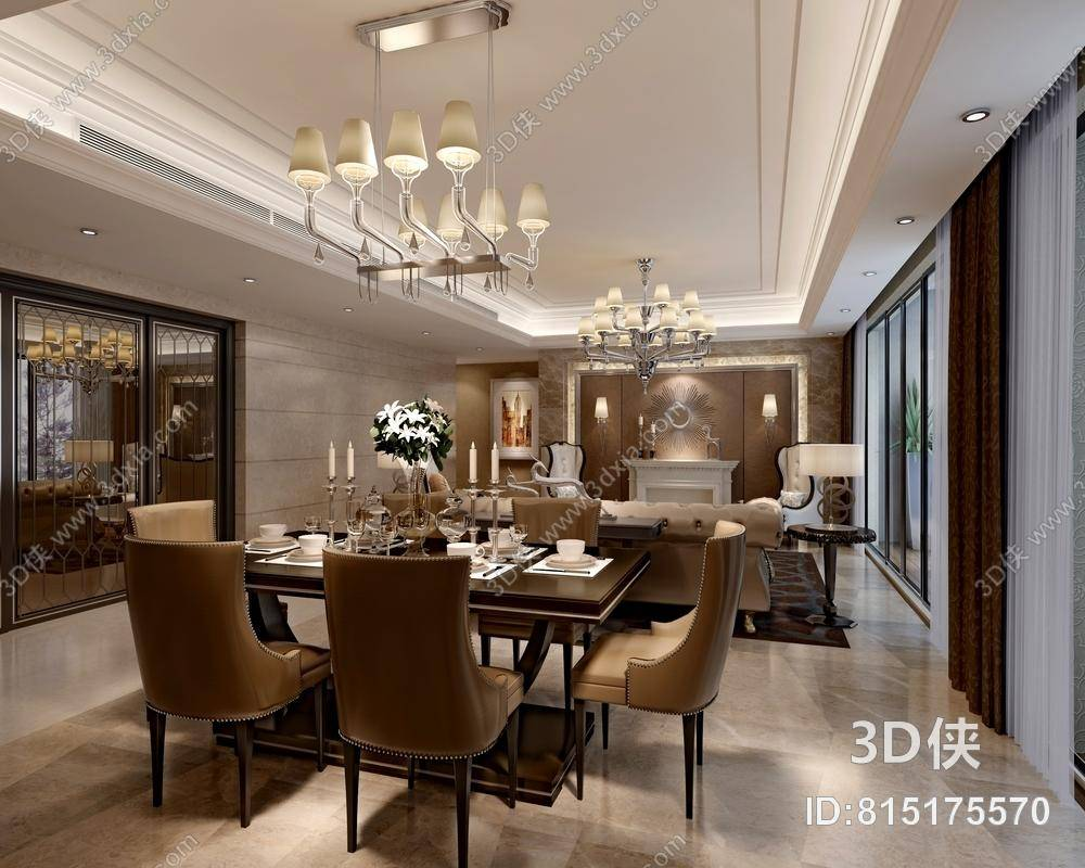 欧式简约白色家居餐厅 欧式简约棕色皮质餐桌椅组合 现代透明玻璃吊灯