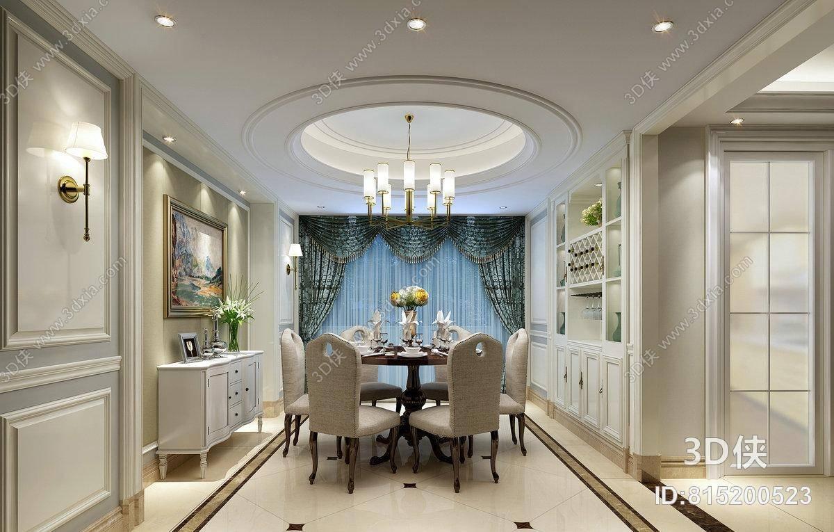 欧式简约家居餐厅 欧式简约铁艺吊灯 欧式简约白色布艺餐桌椅组合