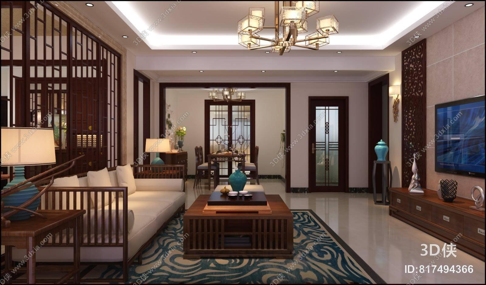 新中式客餐厅 新中式棕色木艺沙发茶几组合 新中式布艺脚凳 新中式图片