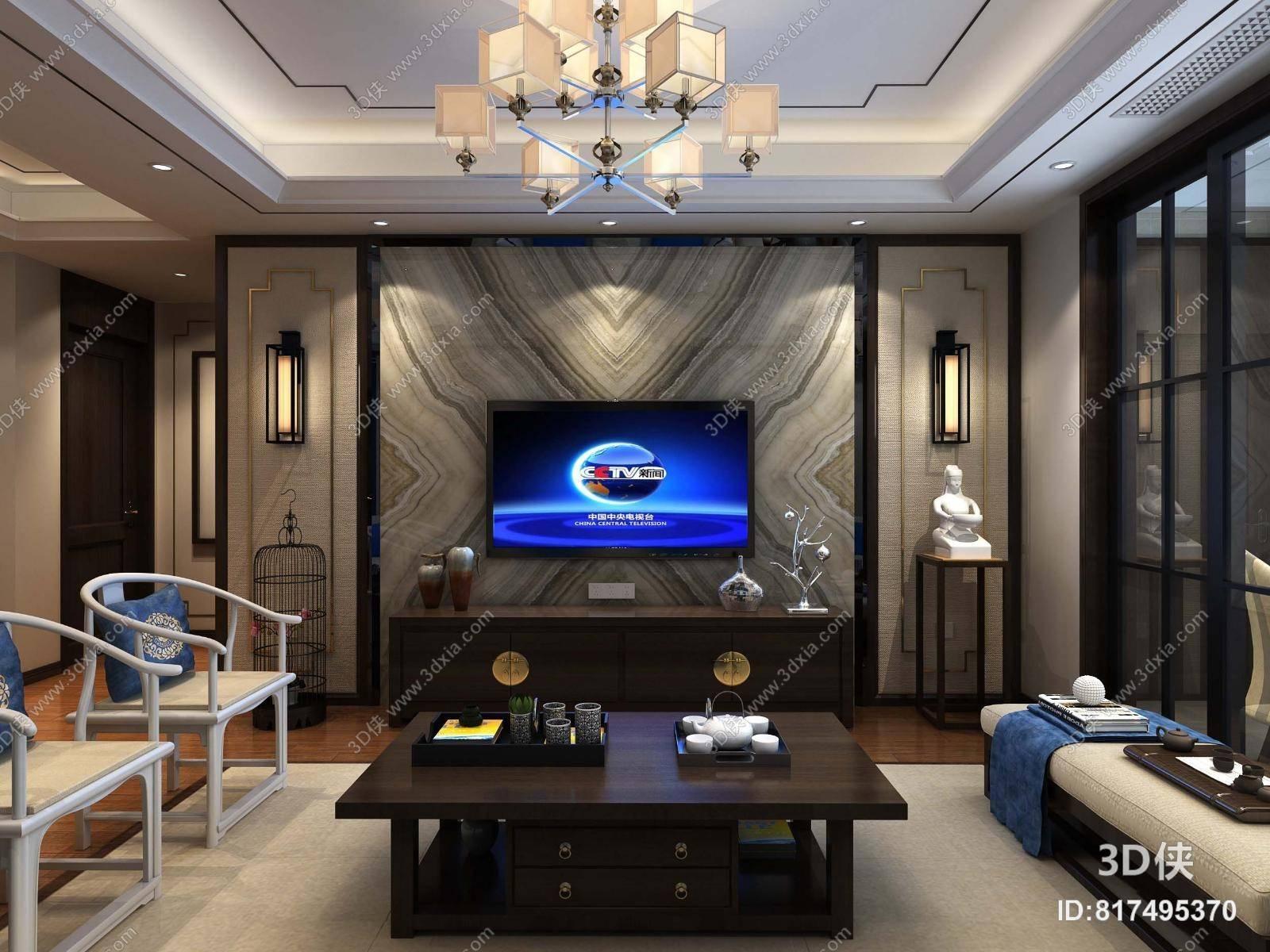 新中式客餐厅3d模型【id:817495370】图片
