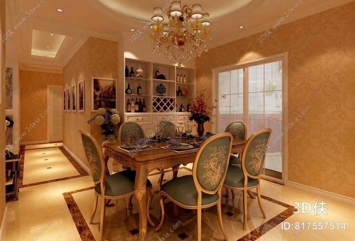 经典欧式家居餐厅 经典欧式绿色布艺餐桌椅组合 经典欧式金色金属吊灯