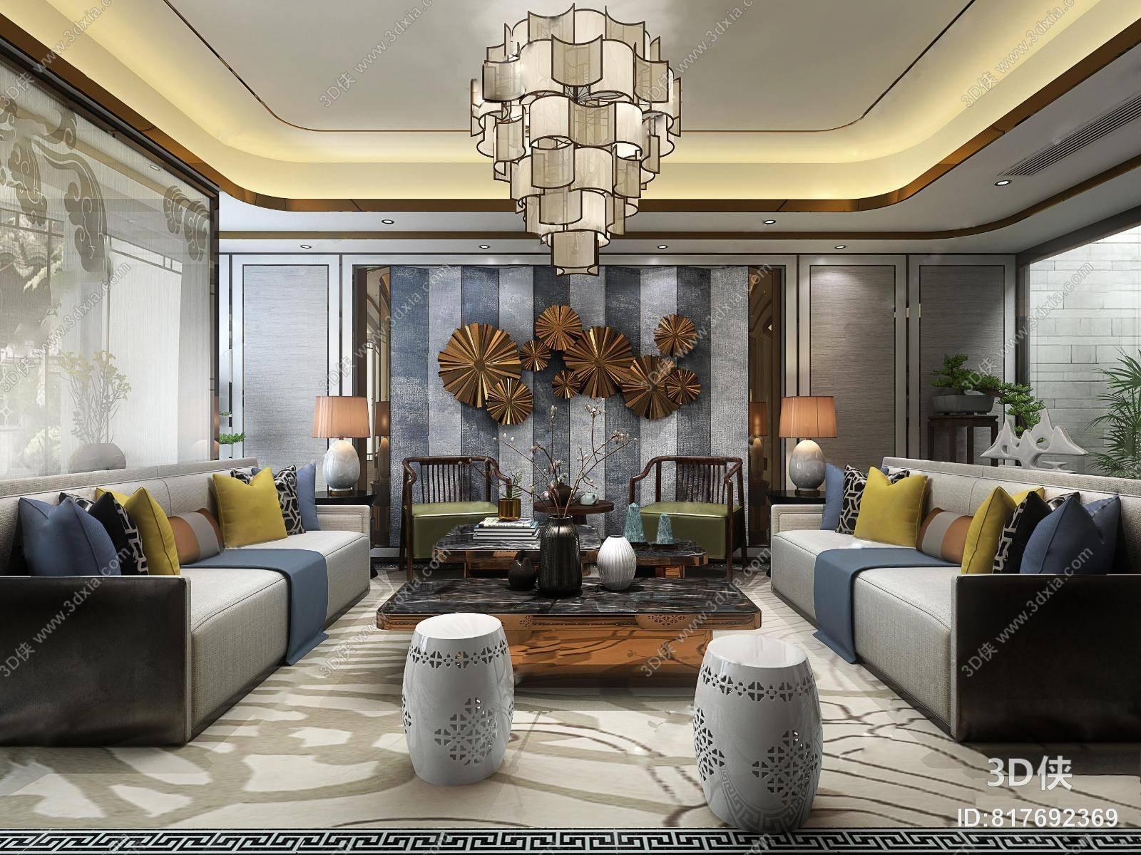 新中式复式客厅餐厅过道 吊灯 台灯 圆凳子 多人沙发 茶几 装饰柜 摆件 花瓶 过道 单人椅子 装饰物