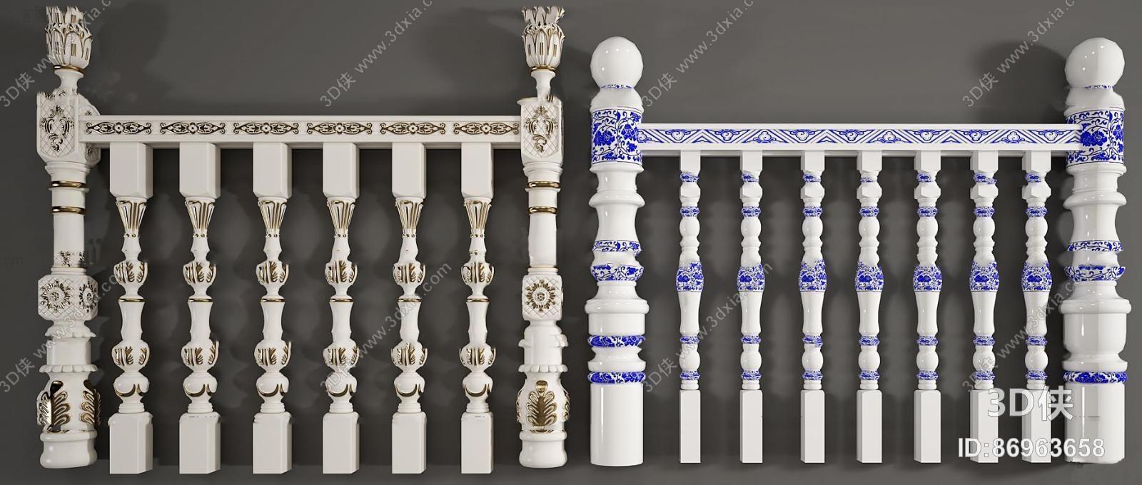 欧式雕花栏杆护栏组合3d模型【id:86963658】图片