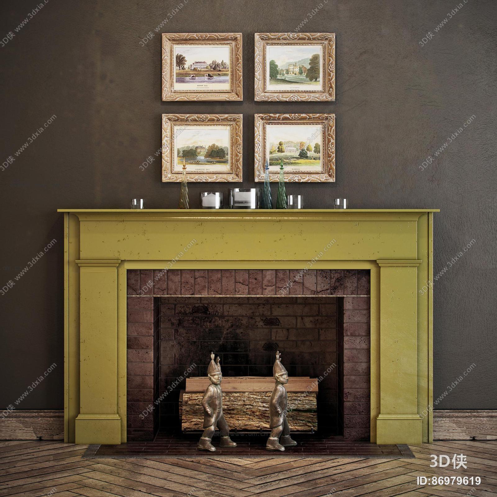 效果图素材免费下载,本作品主题是北欧壁炉装饰画饰品摆件组合3d模型