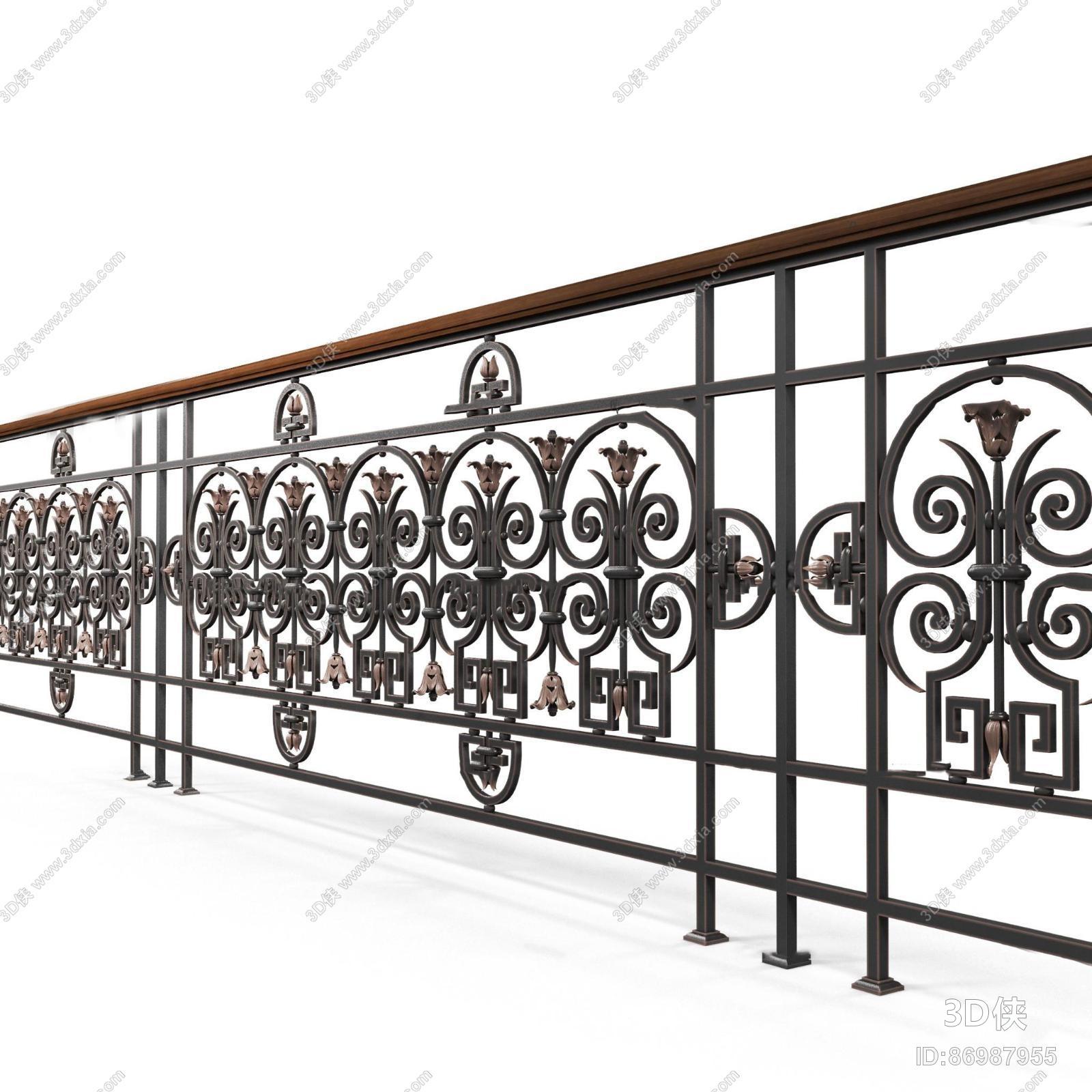 效果图素材免费下载,本作品主题是欧式铁艺栏杆护栏3d模型,编号是