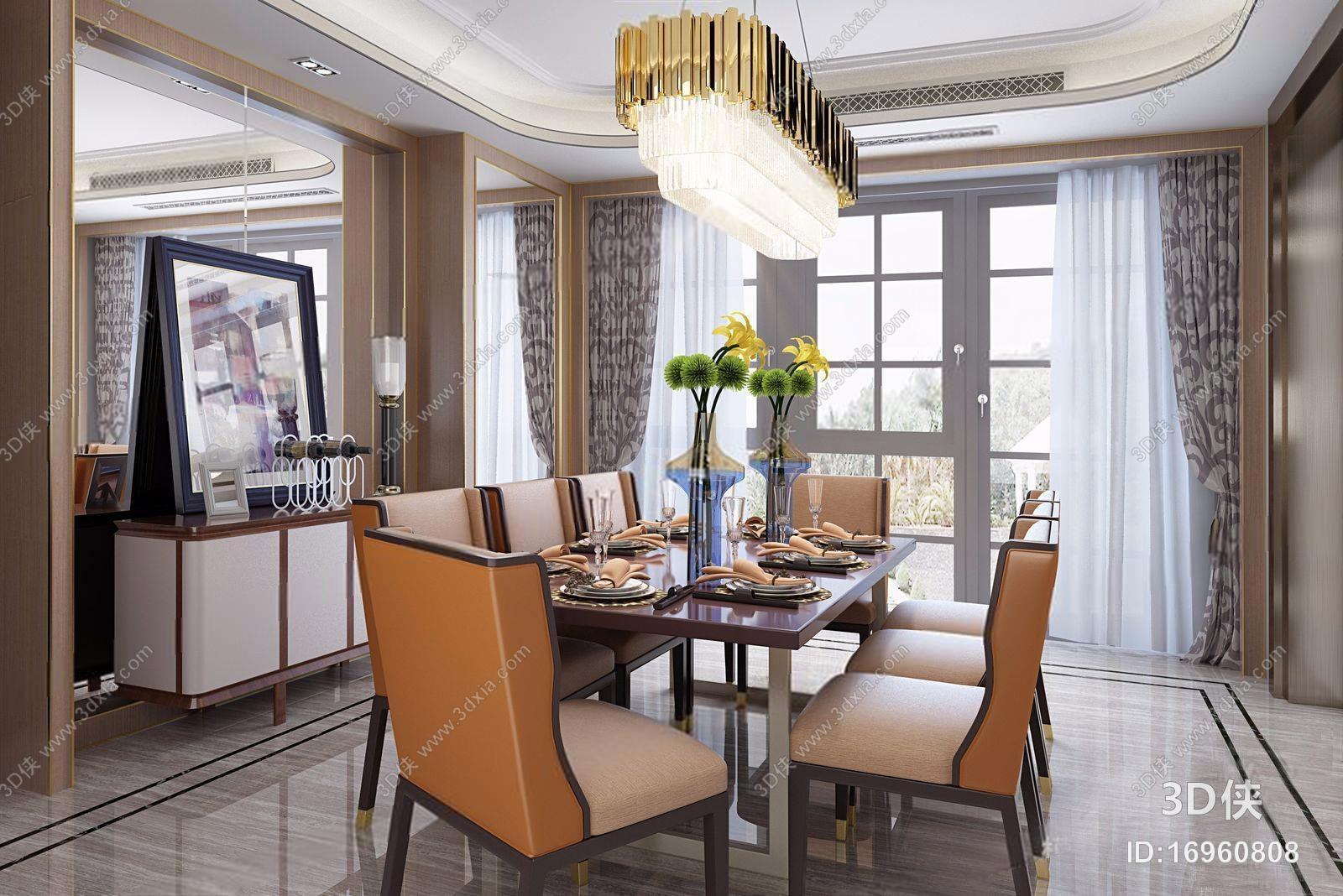 后现代餐厅 后现代餐厅 装饰柜 椅子 饰品 吊灯 窗帘 餐桌 餐椅