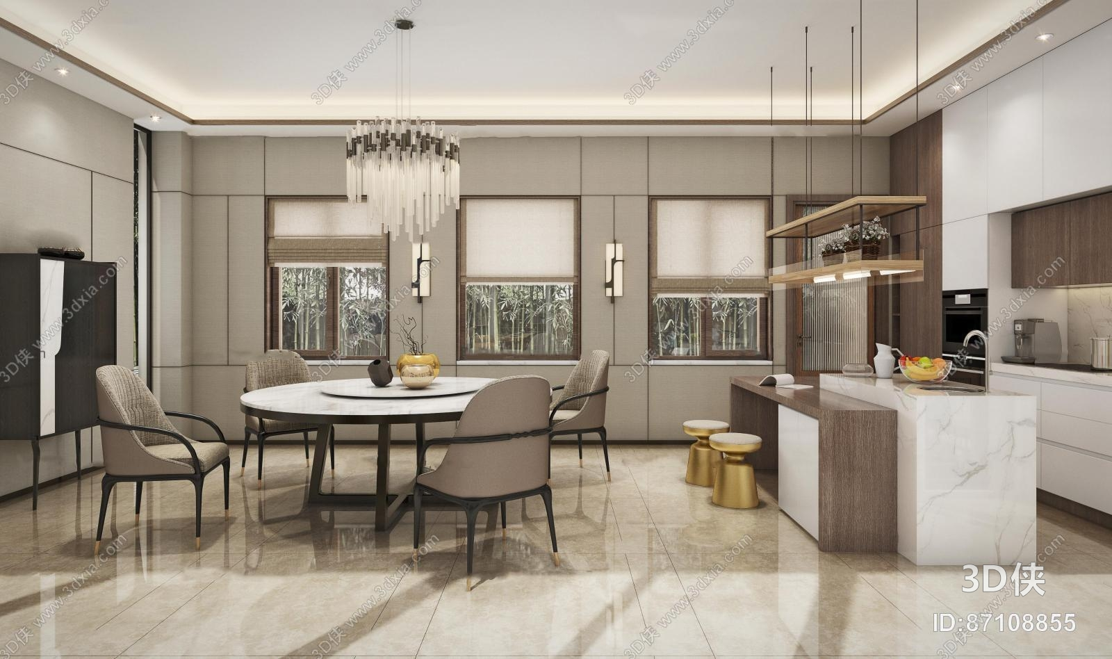 新中式简约餐厅敞开式厨房3D模型