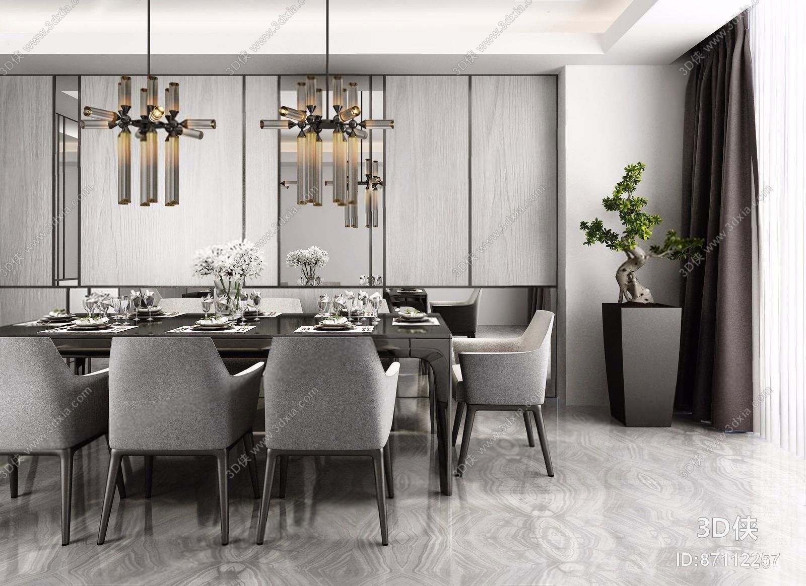 家居餐厅效果图素材免费下载,本作品主题是现代高级灰餐厅,编号是