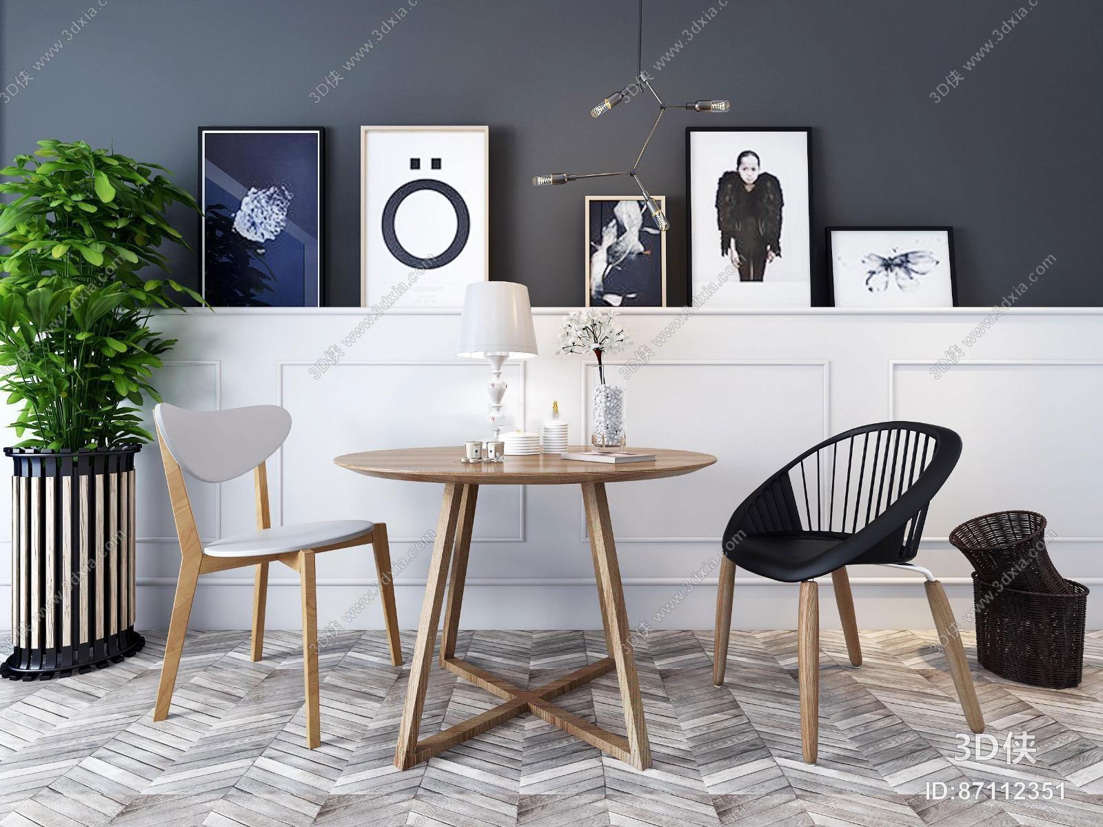 现代休闲桌椅装饰画盆栽组合3D模型下载