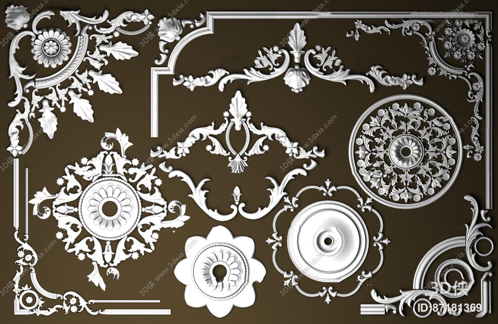 雕花效果图素材免费下载,本作品主题是欧式石膏雕花构件组合3d模型