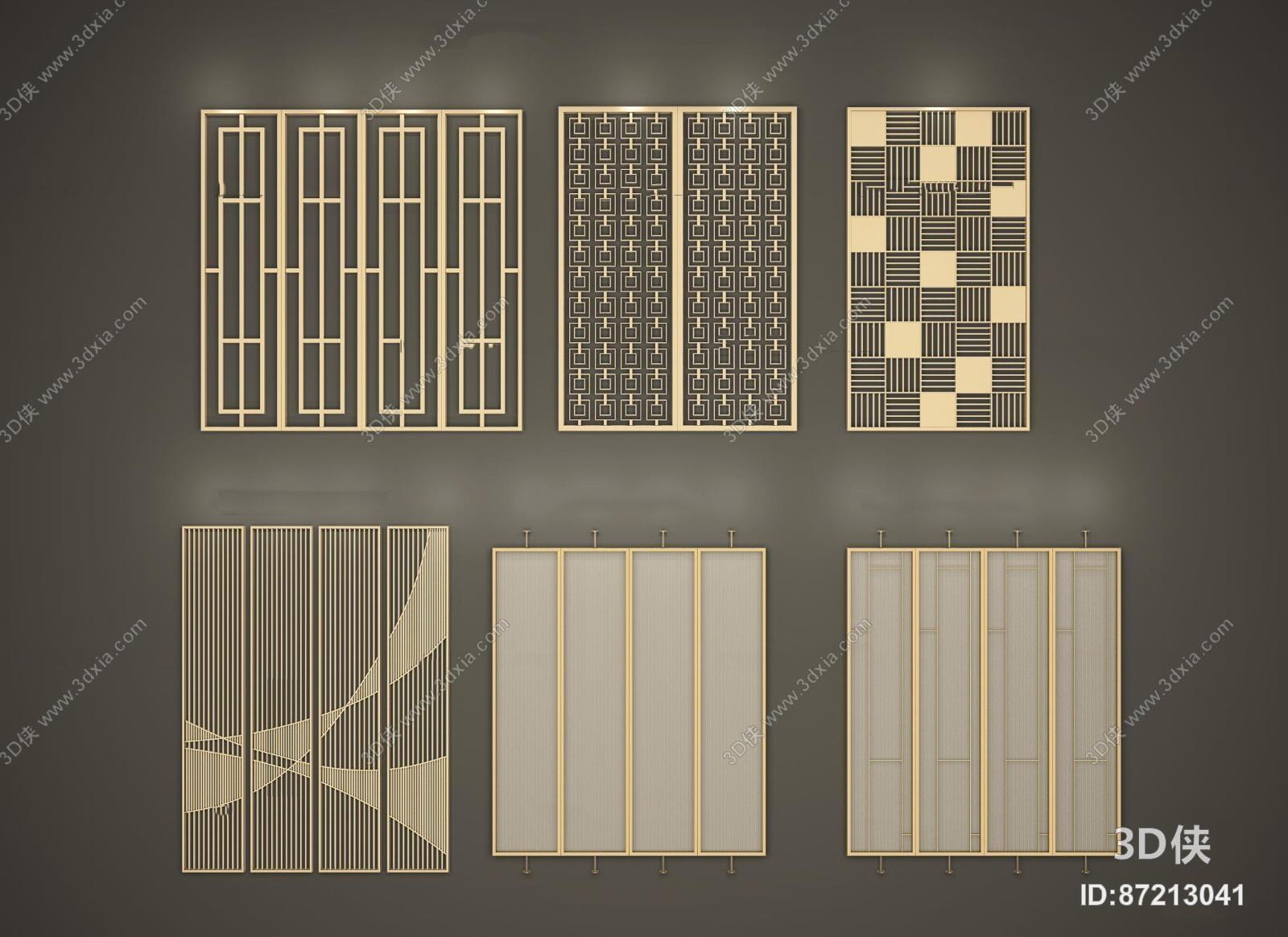 效果图素材免费下载,本作品主题是新中式金属屏风隔断组合3d模型,编号