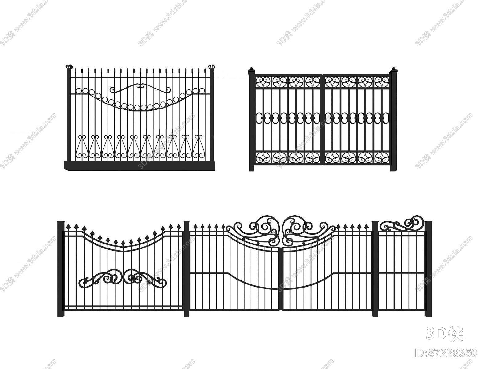 效果图素材免费下载,本作品主题是欧式铁艺栏杆围栏组合3d模型,编号是