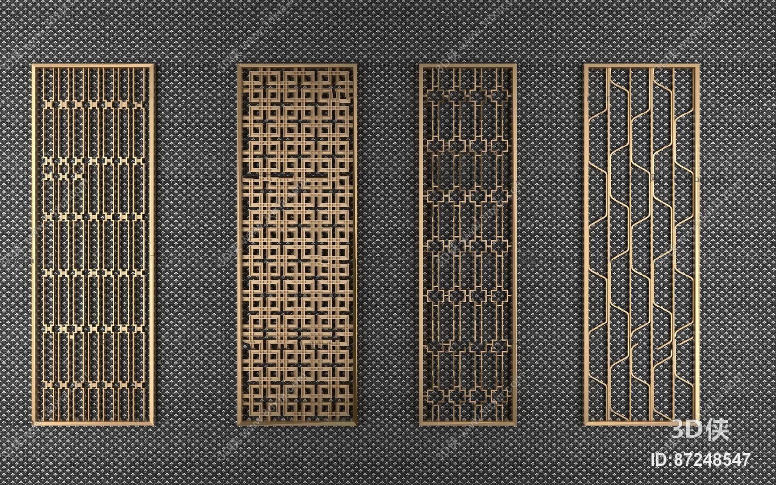 效果图素材免费下载,本作品主题是现代金属隔断屏风组合3d模型,编号是