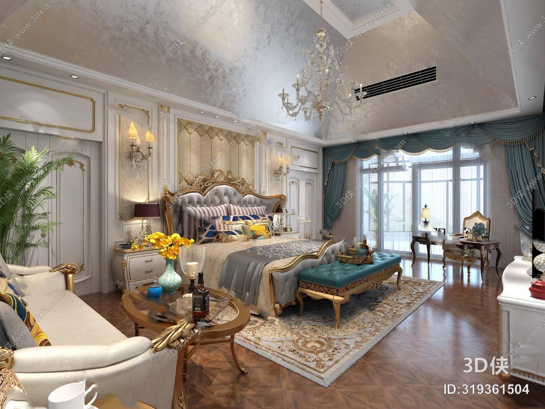 美式卧室3D模型 双人床 床头柜 窗帘 沙发