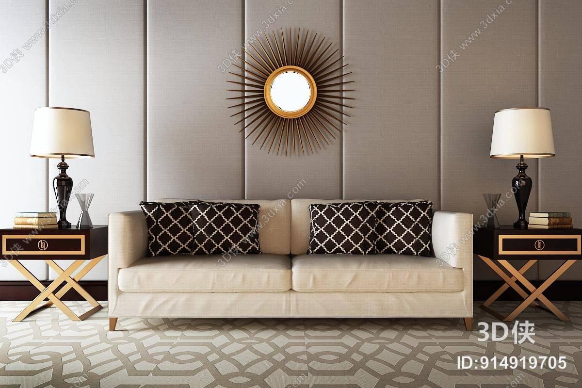 沙发 金色圆形金属墙饰挂件 欧式简约黑色角几 欧式简约黑色陶艺台灯