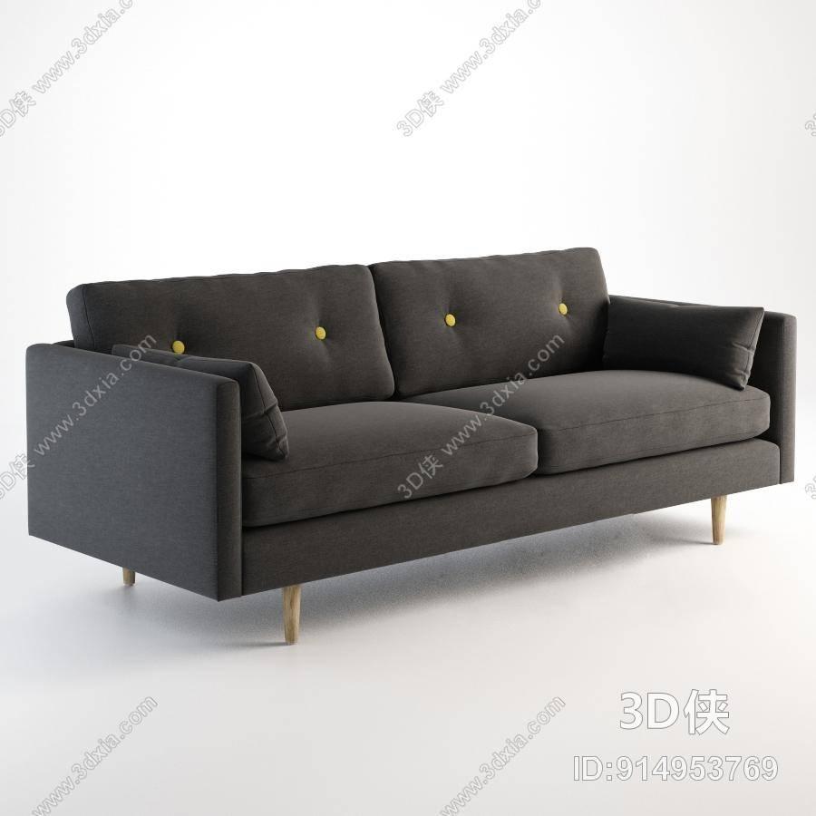双人沙发效果图素材免费下载,本作品主题是现代灰色布艺双人沙发,编号