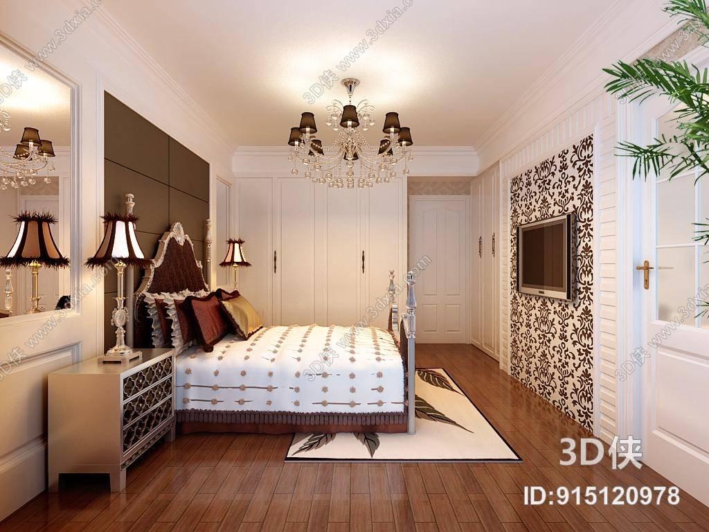 欧式简约白色长方形木艺衣柜3d模型【id:915120978】图片
