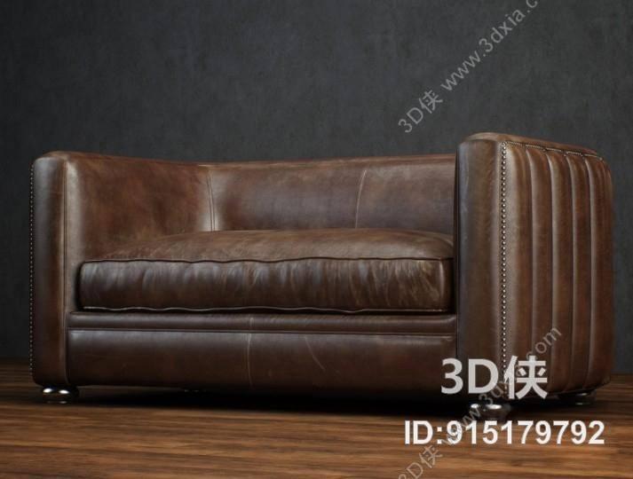 双人沙发效果图素材免费下载,本作品主题是美式简约棕色皮质双人沙发