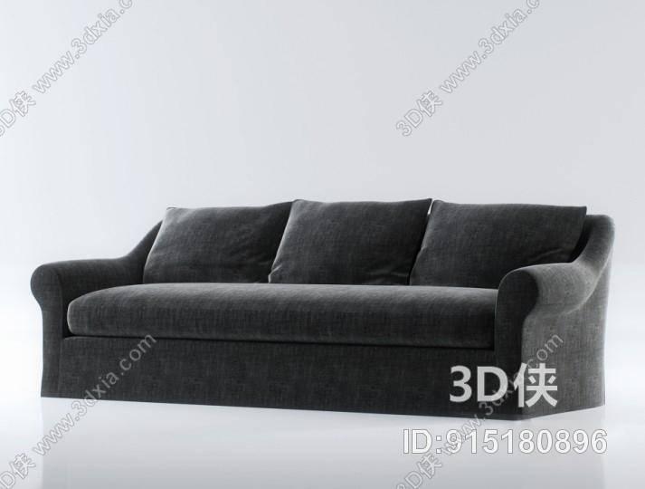 效果图素材免费下载,本作品主题是美式简约灰色布艺三人沙发,编号是