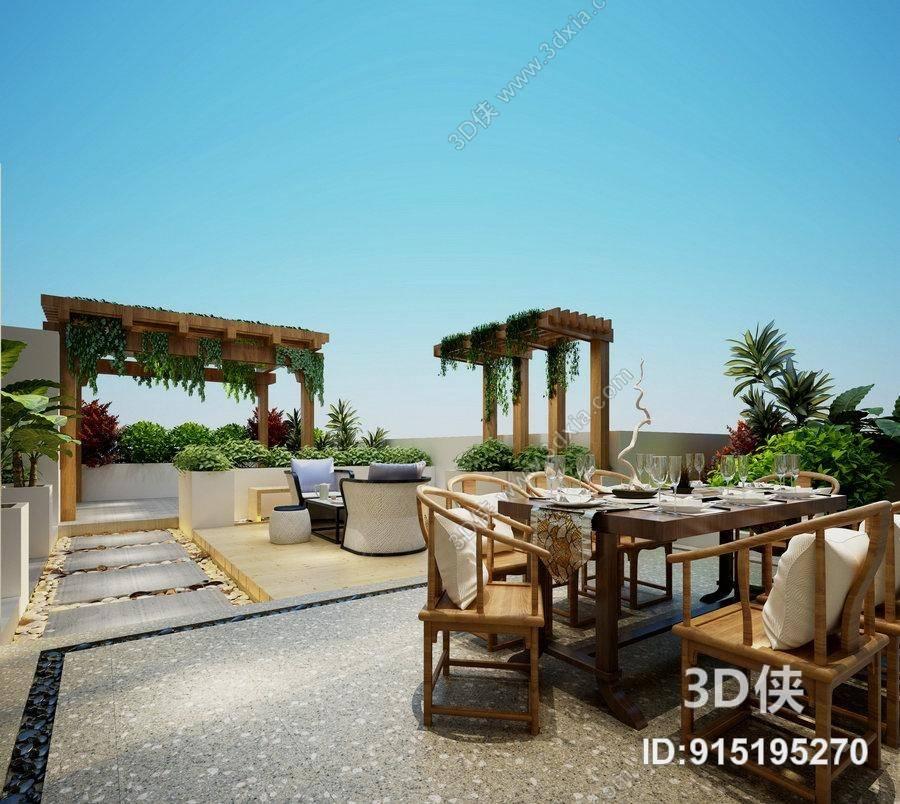 中欧混搭别墅露台 欧式简约白色木艺椅子茶几组合 新中式棕色木艺餐桌
