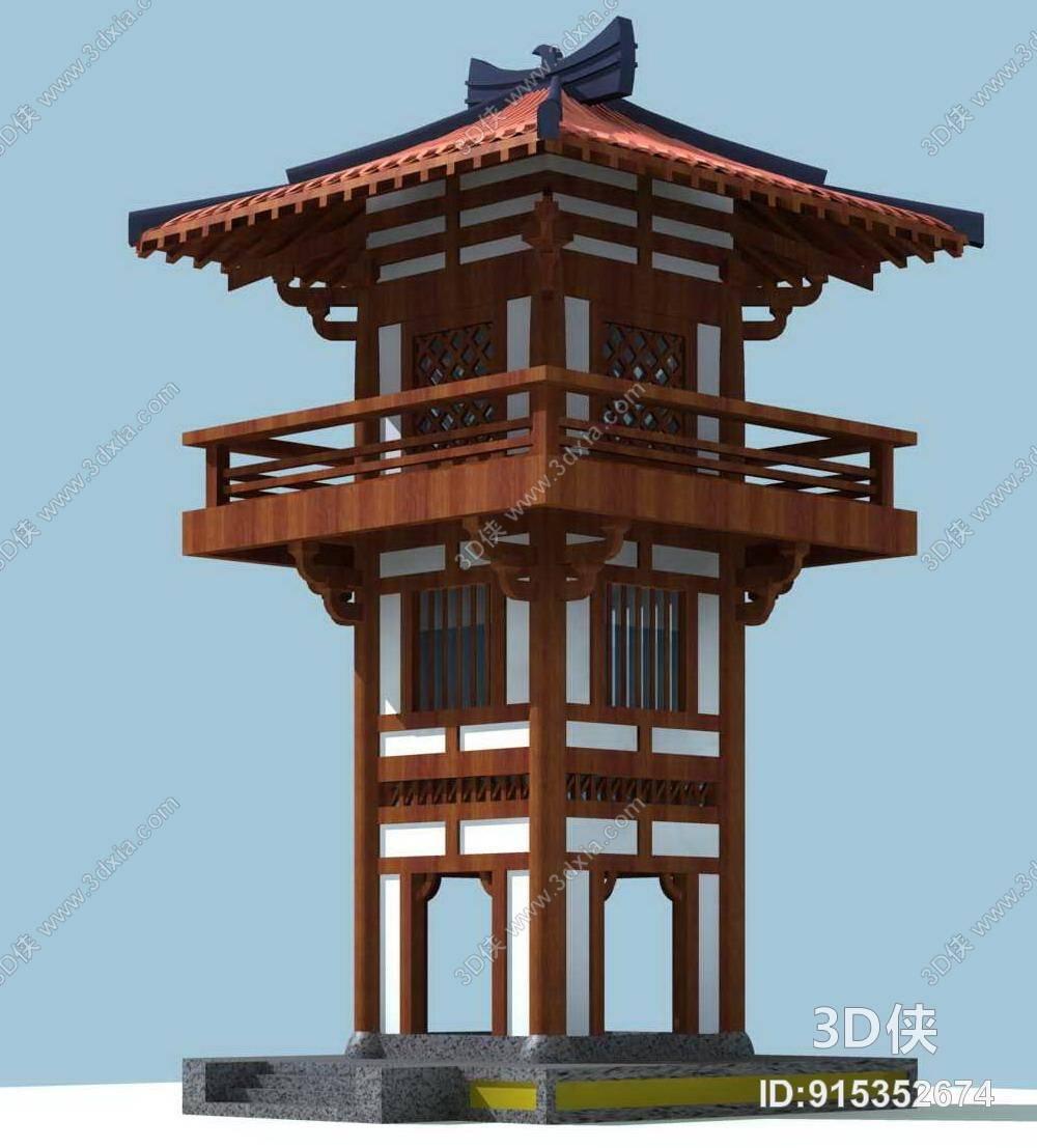 效果图素材免费下载,本作品主题是户外中式塔楼9,编号是915352674