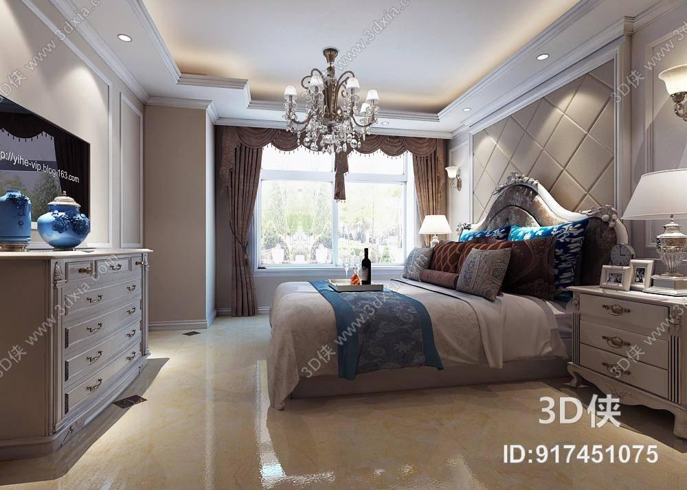 欧式简约白色长方形木艺电视柜3d模型【id:917451075】