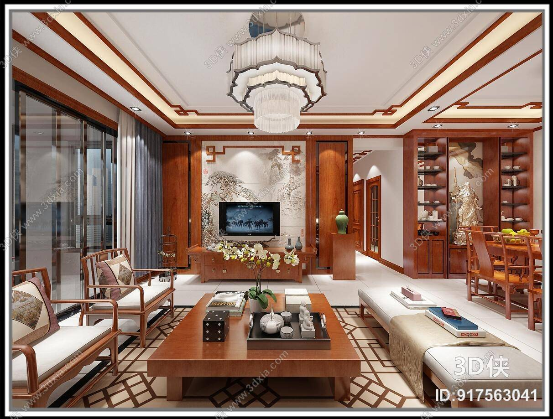 新中式棕色木艺电视柜3d模型【id:917563041】