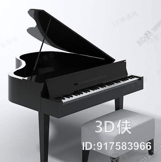 钢琴效果图素材免费下载,本作品主题是黑色木艺钢琴,编号是917583966