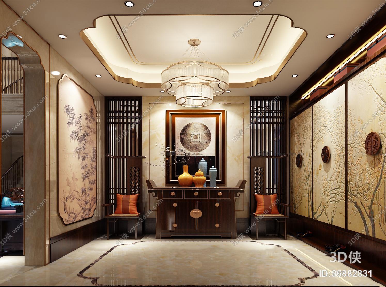 新中式端景柜单椅屏风背景墙玄关过道3d模型【id:96863337】