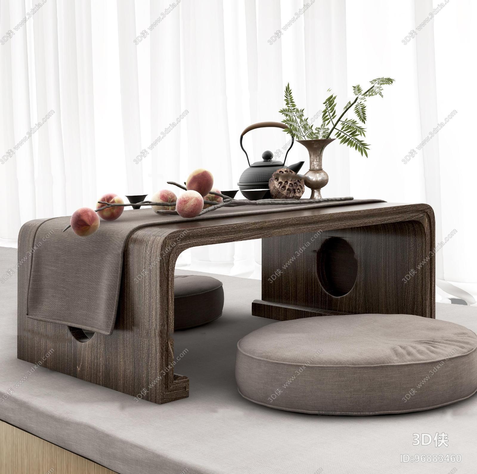 中式茶台坐垫茶具桃子窗帘组合3D模型
