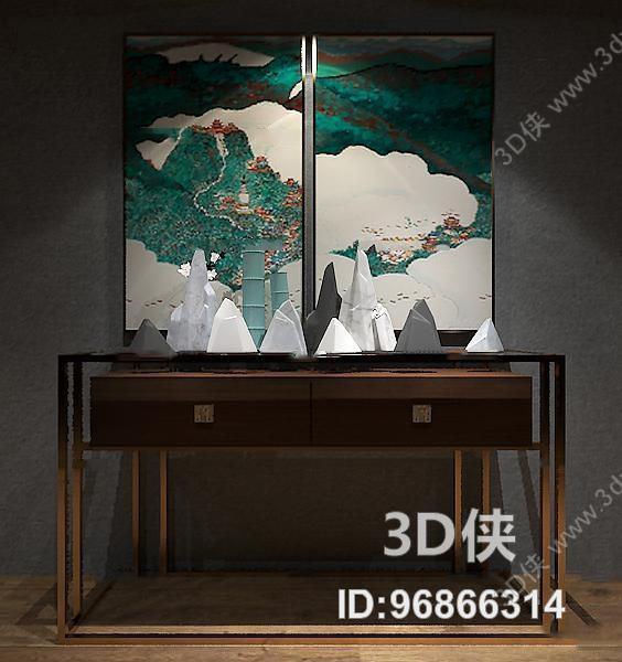 玄关柜效果图素材免费下载,本作品主题是新中式端景柜装饰画摆件组合3图片