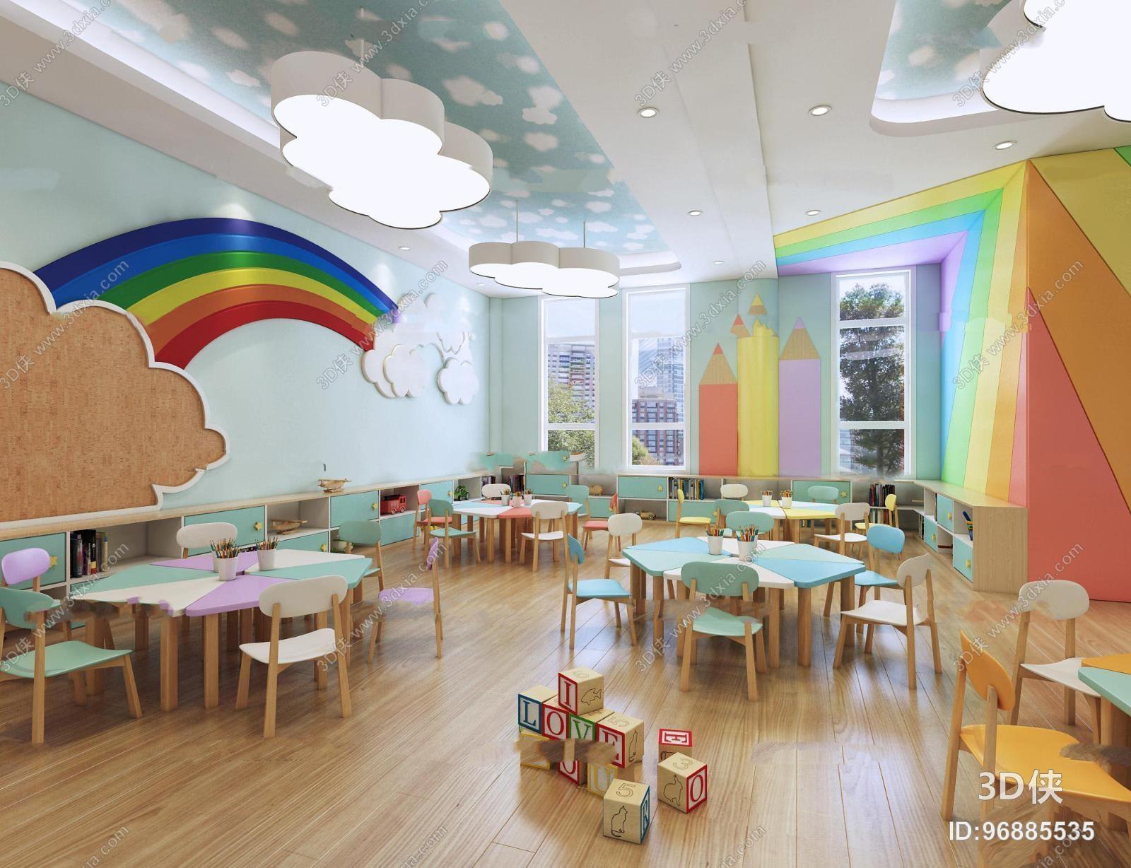 现代幼儿园美术室3D模型
